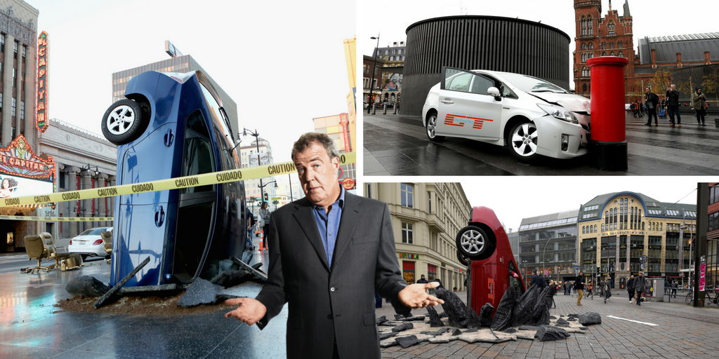 jeremy clarkson james may and richard hammond crash their cars in amazon 39 s the grand tour stunt. Black Bedroom Furniture Sets. Home Design Ideas
