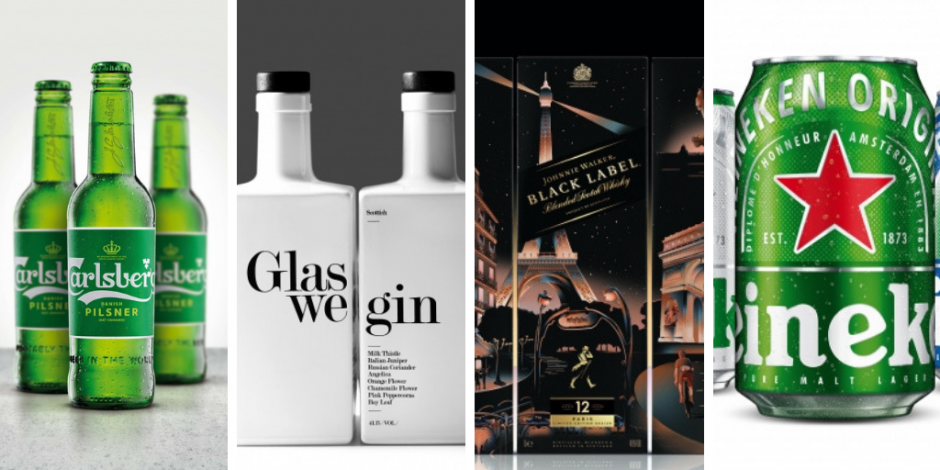 Refreshing drinks packaging: Johnnie Walker, Glaswegin, Heineken and Carlsberg