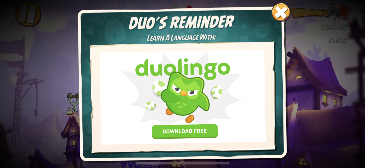 Angry Birds and Duolingo mascots chirp together in branded app crossover