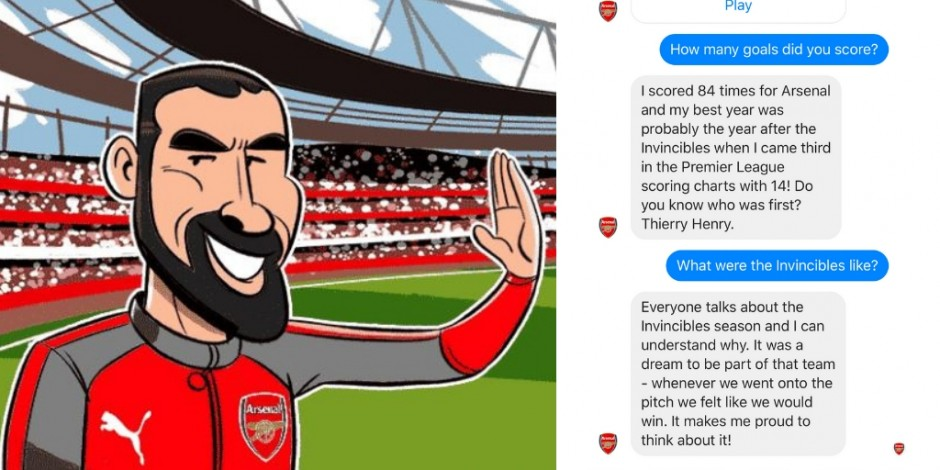 aca0c48b062 Arsenal guns for 'one-to-one' conversations with fans via quirky Robot  Pires chatbot